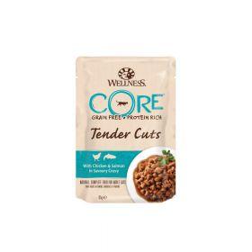 Wellness Core Tender Cuts s piletinom i lososom u umaku, vrećica 85g